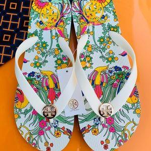 Tory Burch NWT Flip Flop Flat Sandals New Ivory